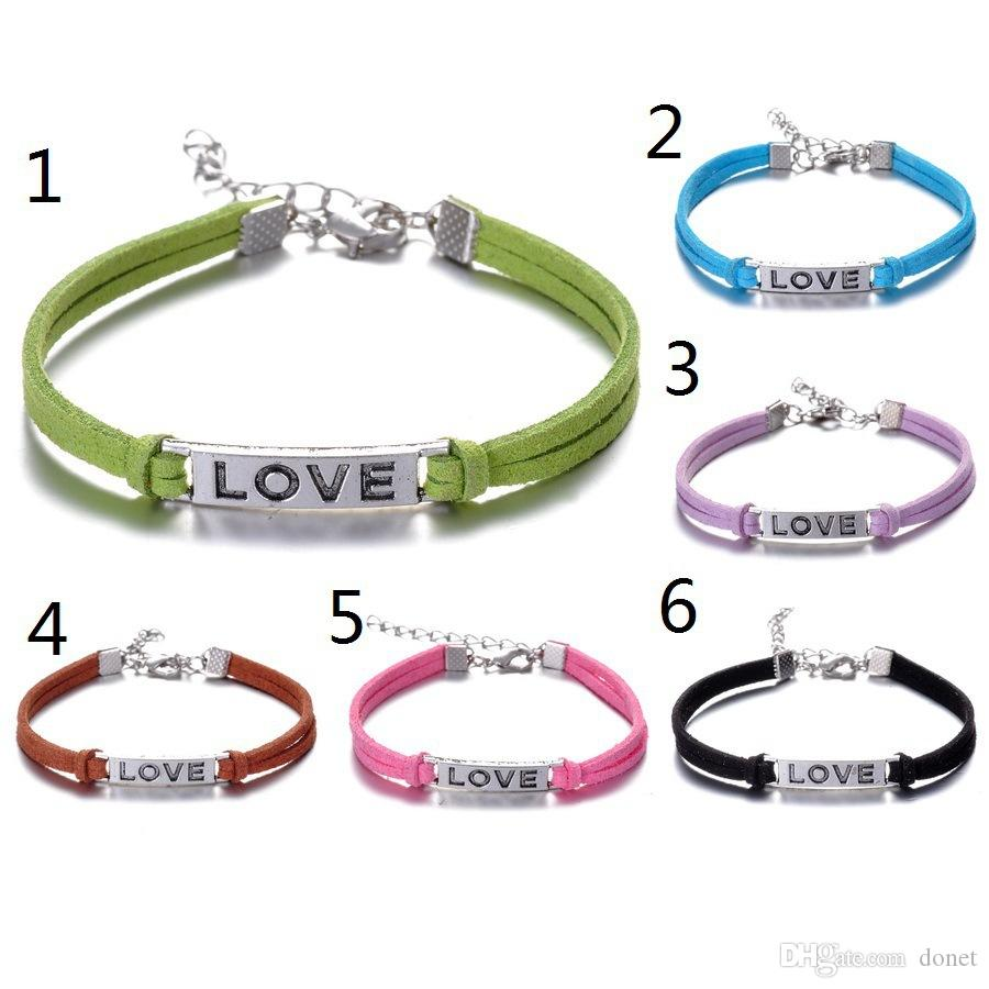 Fashion Handmade Women Girls Vintage Love Alloy Bangles Braided Rope Wristband Leather Bracelet Adjustable