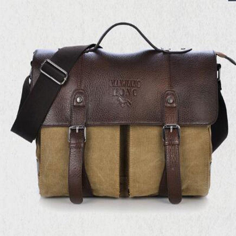 a47a88801 Men Canvas Bag Leather Briefcase Travel Suitcase Messenger Shoulder Tote  Back Handbag Large Casual Business Laptop Pocket 6592/G Briefcase Wanker  Mens ...