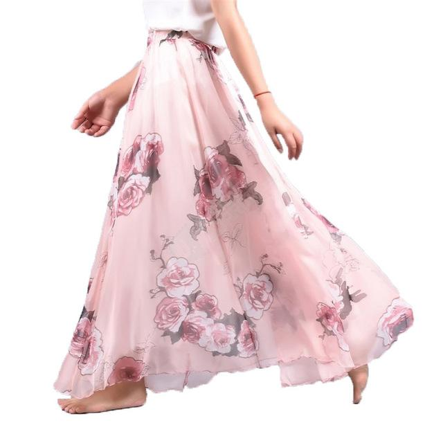 fceb32b2ec 2019 Elegant Summer 2019 Women Long Skirt Chiffon Saia Beach Bohemian Maxi  Skirts High Waist Tutu Casual Vestidos Harajuku Print From Kaixin6889, ...