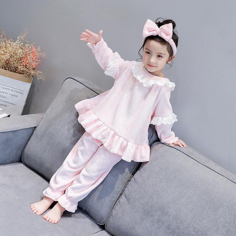 Winter Kids Girls Flannel Pajamas Set Warm Coral Fleece Nighties ... 850ca88cc