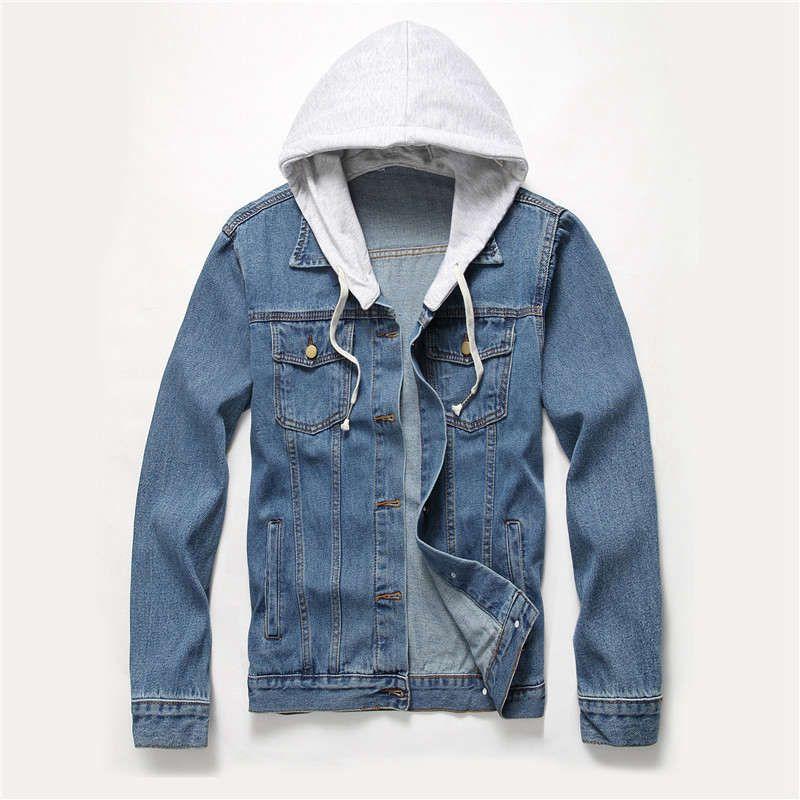 e3ed52367339b New Brand Designer Hooded Denim Jacket Men Fashion Fake Two Pieces Of  Streetwear Bomber Jacket And Coat Man Cowboy Clothes Jeans MaleS XXXL  Baseball Jackets ...