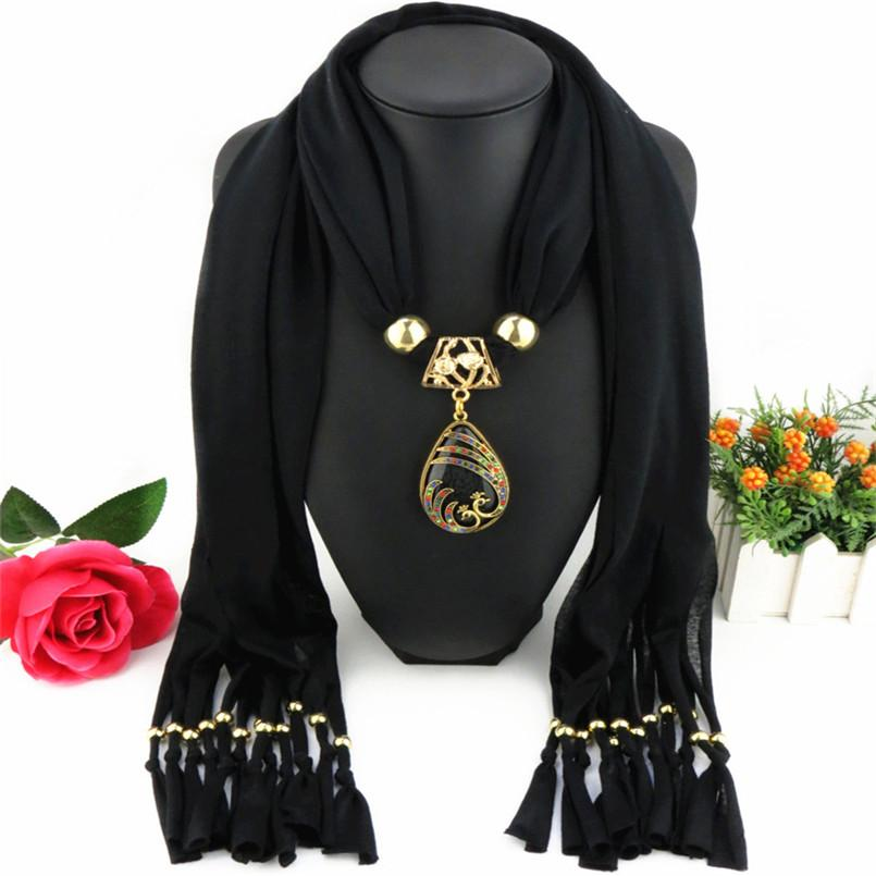 Olaru Bohemia Tibet Crystal Peacock Chiffon Tassel Scarf Choker Necklace For Woman Vintage Chains Fashion Wholesale Accessories