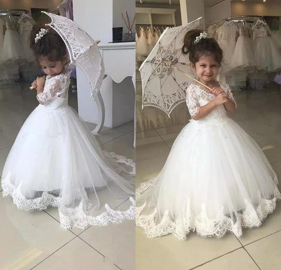 12215333563 White Princess Flower Girls Dresses Jewel Neck Half Sleeves Lace Appliques  Button Back Long Ball Gown Kids Birthday Girl Pageant Gowns 173 Taffeta  Flower ...
