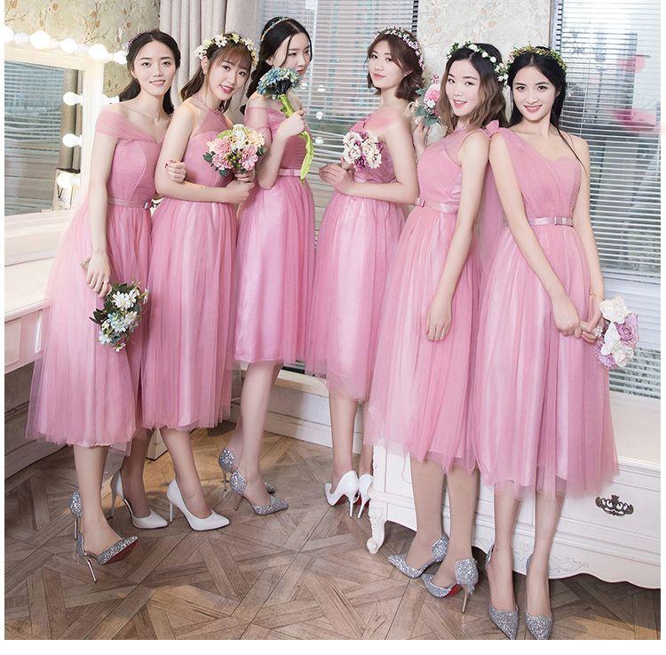Peachy Pink Bridesmaid Dress Blush Chiffon Cheap Wedding Party Prom Dresses  Vestido De Festa De Casamento Dama De Honra Under 50 Bridesmaid Dresses  With ... 2103185d872e