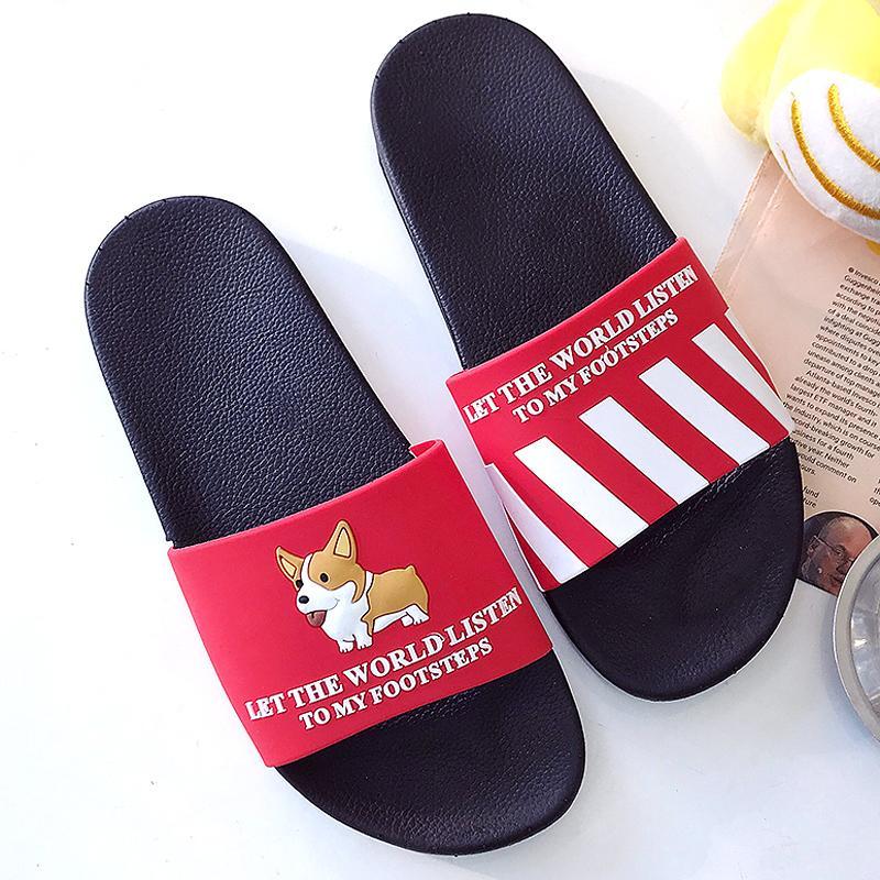 Dias Indoor Cartoon Sommer Frauen Hund Weiche Schuhe Sandalen Flops On Hausschuhe Home Flip Sohle Slip Slides Outdoor TFKc1Jl