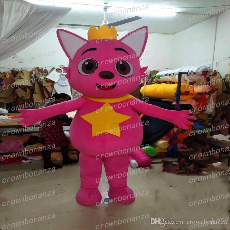 Carnival Halloween Theme.Baby Shark Mascot Costume Anime Theme Carnival Halloween Costume Cartoon Pink Fox Animal Character Costumes Christmas Party Suit