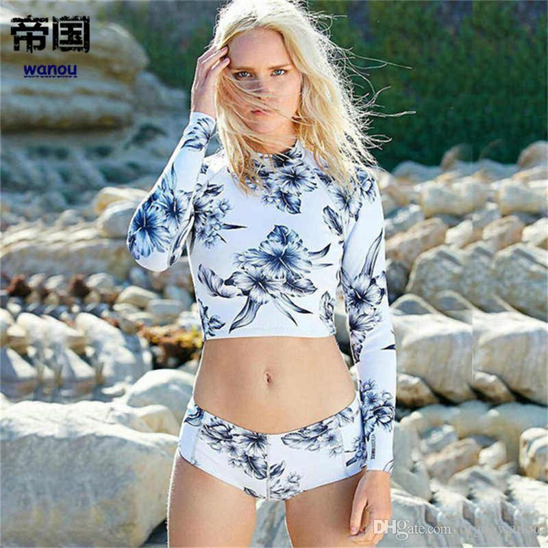 105d3ff55b 2019 Long Sleeves Rash Guard Women Sexy Surf Swimwear Floral One Piece  Swimsuit Surfing Clothing High Neck Diving Wetsuits Leaf Print From  Diguowanou, ...
