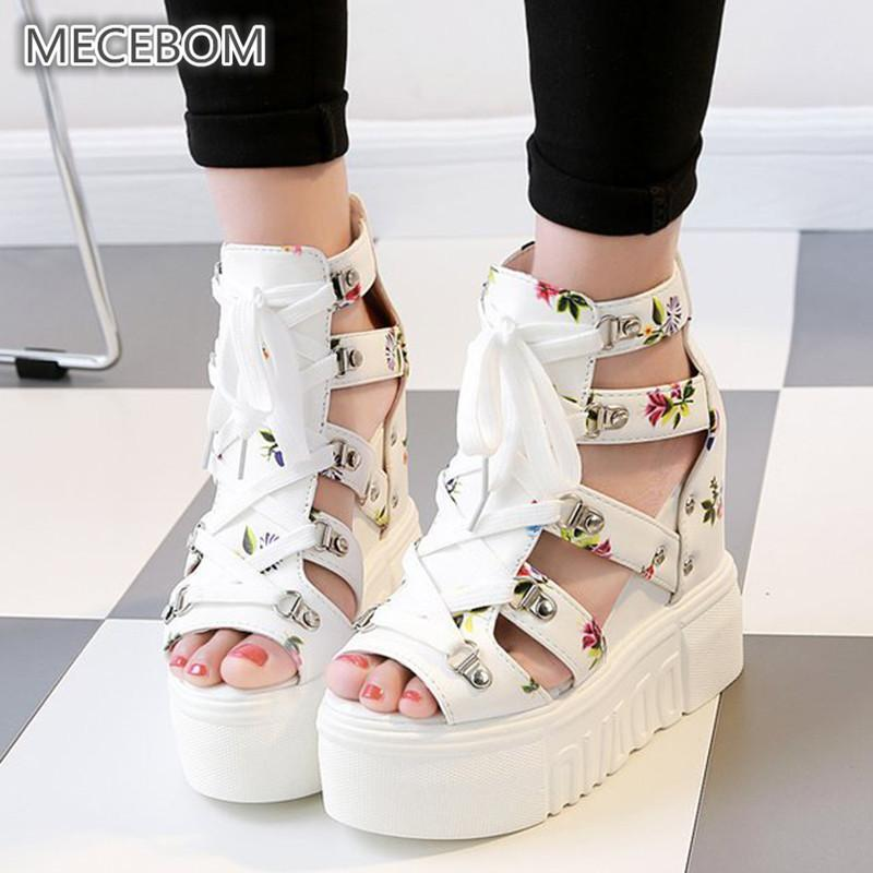 Spring Women Sandals High Heel Casual Ethnic Flower Floral Open Toe Wedges Platform Height Increasing Chunky Ladies Shoes 0523w