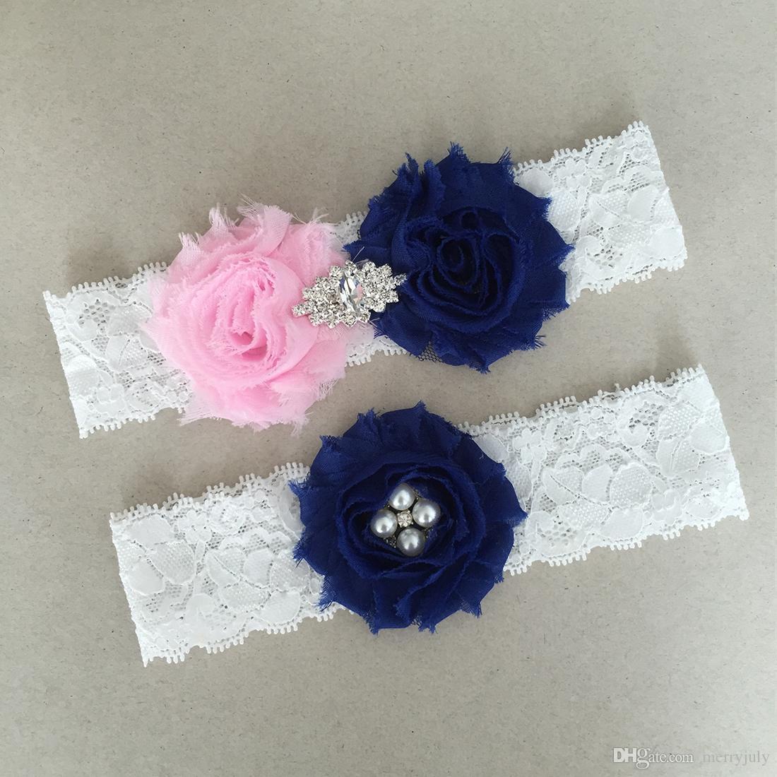 db6b4413e Navy Blue And Pink Bridal Garters Lace White Wedding Garter Belt Set ...