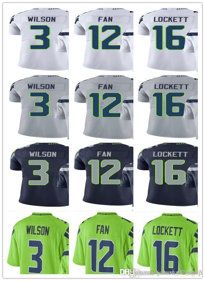 cozy fresh f14b4 dd28b custom Seattle Men/Women/Youth Seahawk #3 Russell Wilson 16 Tyler Lockett  12 Fan Vapor Untouchable Limited Rush Jerseys