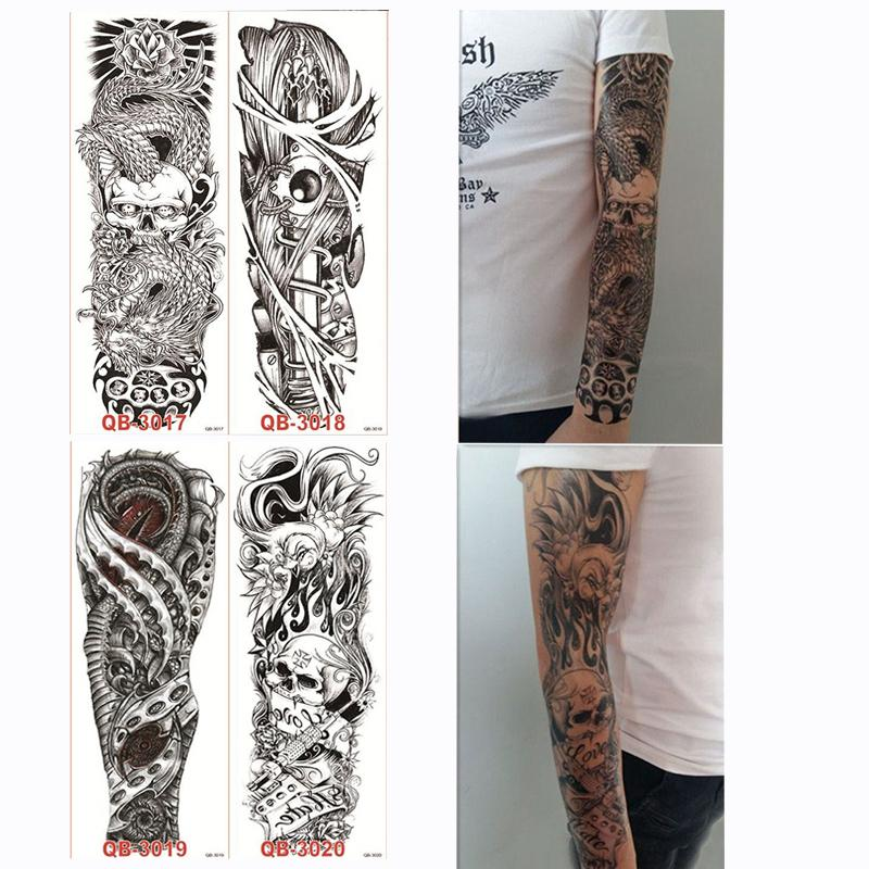 4 Pieces Temporary Big Full Arm Tattoo Sticker Skull Rose Flower Design For Women Men Diy Body Art Paint Tool Tattoo Decal