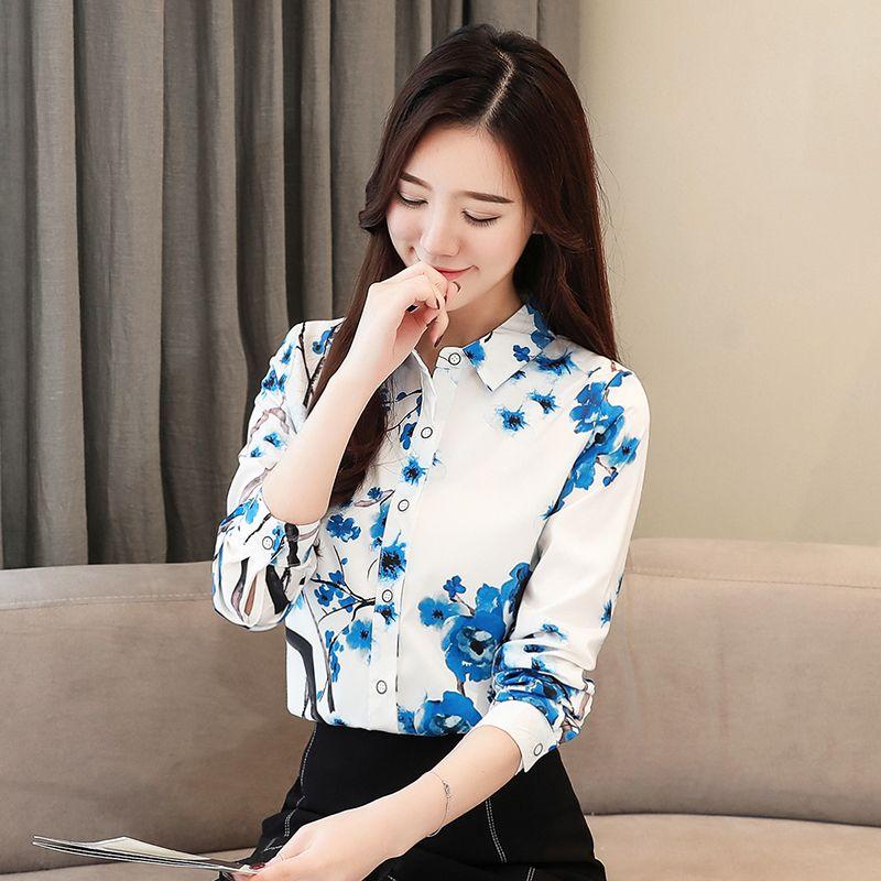 c46f25f0398 Compre La Moda Impreso Camisa Para Mujer Dama Elegante Oficina Top Camisas  2019 Primavera Nuevo Solo Pecho Flor Superior Mujeres 2075 50 A $29.87 Del  Yan556 ...
