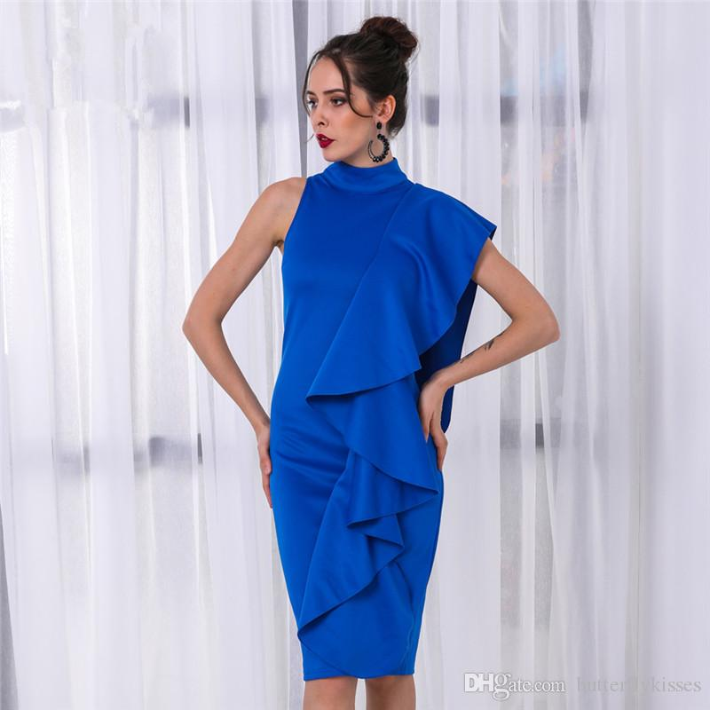0954ff23212 2018 Elegant Royal Blue Satin Short Homecoming Dresses High Neck Cocktail Party  Dresses Ruffles Knee Length Short Prom Dresses Party Gowns Backless ...