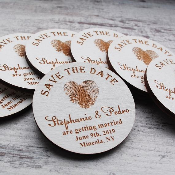 Fingerprints Save The Date Magnet Rustic Wedding Invitation Wood Magnets Invite Personaloze Heart Yellow Party Favors 1st Birthday