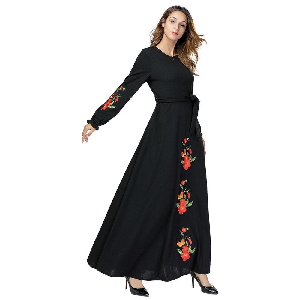 Acquista 7386 Elegant Women Maxi Dress Floral Long Robe Gowns Vintage Musulmano  Kimono Ramadan Abbigliamento Islamico Abito Donna A  24.13 Dal ... 082f037f677