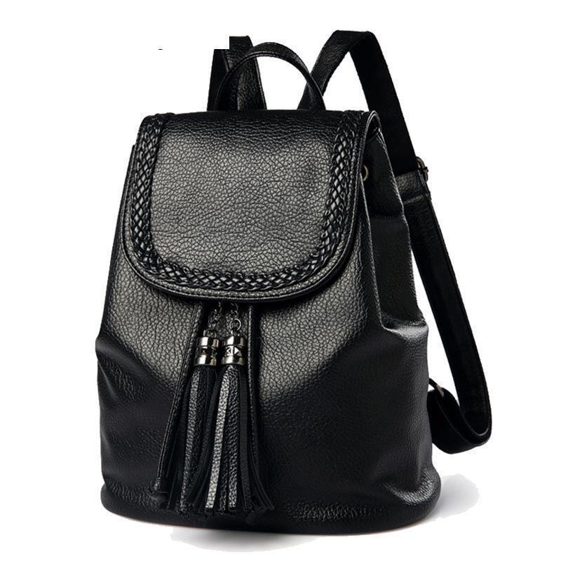 8e442d5f6 Compre Boa Qualidade Moda Borlas Mulheres Mochilas De Couro Sacos De Cordão  Casuais Grande Capacidade Escola Meninas Back Pack Bag Mochila Feminina De  ...