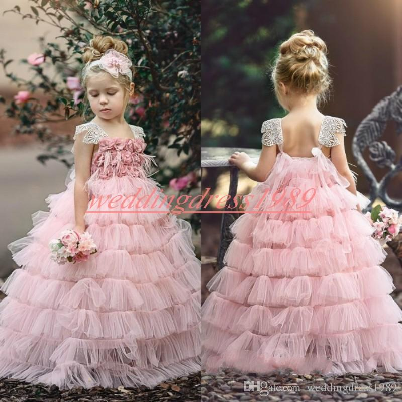Handmade Tiered Flower Girls' Dresses Rose Tulle Pink 2019 Girls Birthday Formal Gowns First Communion Dresses Kids Tutu Pageant For Wedding
