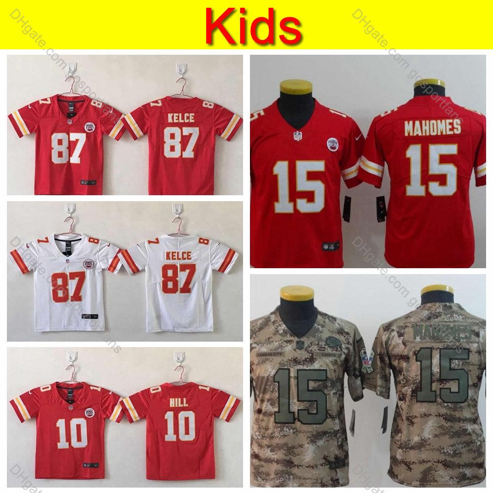 cheap for discount dec97 01cf4 Youth Kansas City Kids Chiefs 15 Patrick Mahomes 10 Tyreek Hill 87 Travis  Kelce Camo Salute to Service Football Jersey Top Quality Stitched