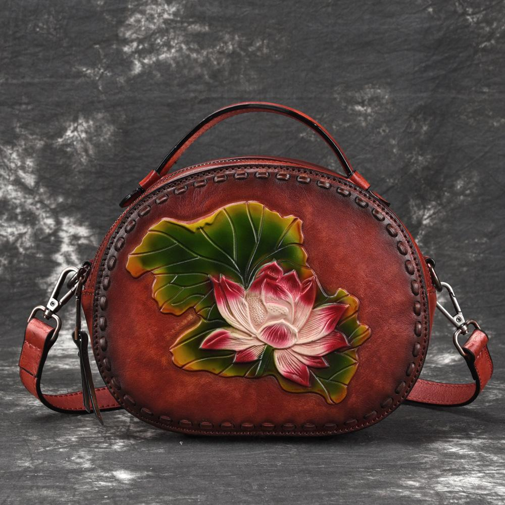 64e23d9ef2a4 Genuine Leather Top Handle Cross Body Bag Lotus Pattern Chinese Style Tote  Vintage Women Real Cowhide Messenger Shoulder Bags
