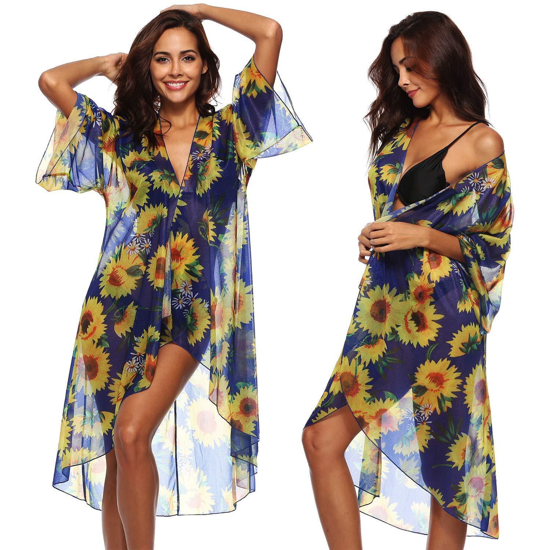 e76b3b6231df63 Damen 3/4 Ärmel Sunflower Print Badeanzug Bikini vertuschen lange offene  Kimono Cardigan Beach Swimdress