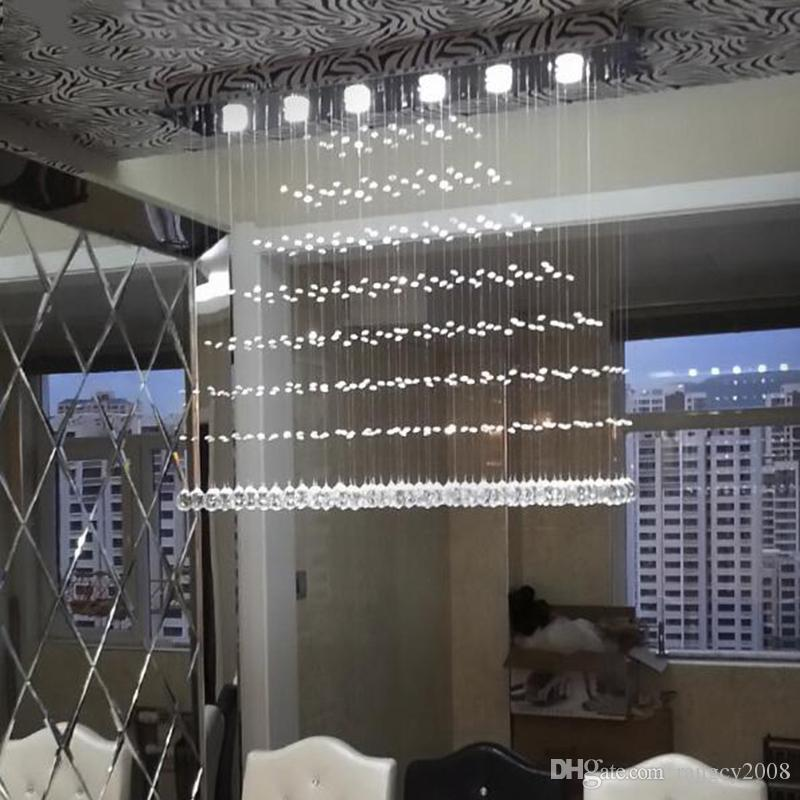 Free shipping New Modern K9 LED Crystal Chandelier Crystal Lamp Double spiral staircase chandeliers living room lighting