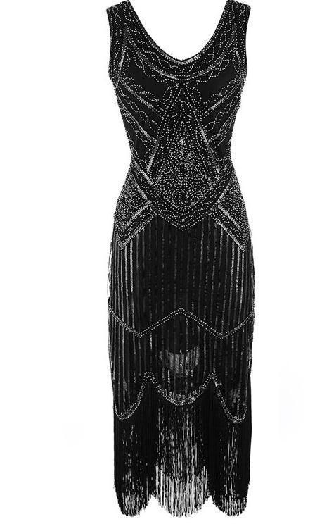 Großhandel BLINGSTORY Vintage 1920er Jahre Quaste Große Gatsby Kleid Frauen  Pailletten V Ausschnitt Perlen Pailletten Art Deco Flapper Kleid WZD001 Von  ... 2aba1ee6f2