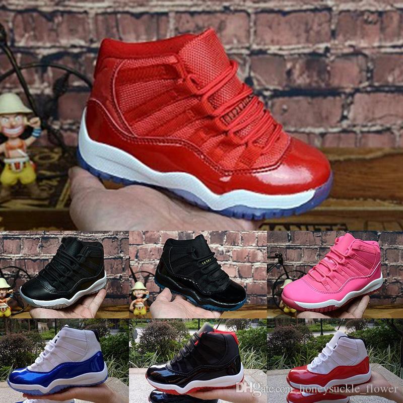 the best attitude b9322 c2dcf Compre Nike Air Jordan 11 2018 Niños 1s Zapatos De Baloncesto Niños Niño  Niña 1 Top 3 Bred Negro Rojo Blanco Zapatillas De Deporte Niños Regalo De  ...