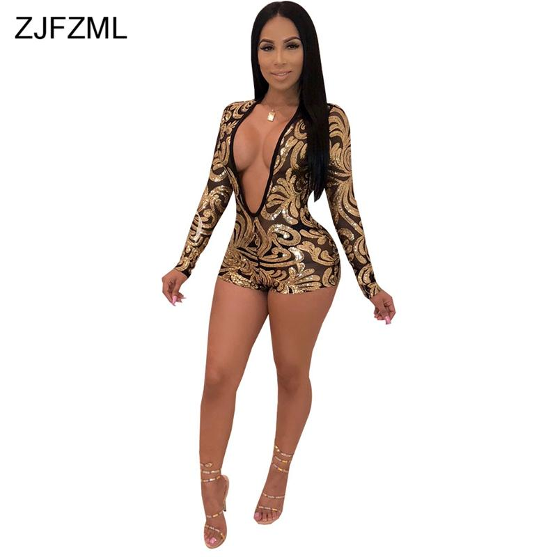 6f92ffb0c6a0 2019 Glitter Gold Sequins Sexy Short Playsuit Women Deep V Neck Long Sleeve  See Through Jumpsuit Elegant Mesh Patchwork Party Overall From Cutelove66