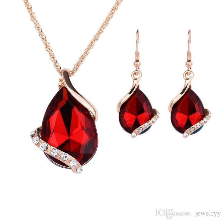 a9f7a7881e919 Water Drop Crystal Pendant Necklace Earrings Rhinestone Fish Ear Hook  Earrings Women Party Jewelry Set Bride Bridesmaid Jewelry