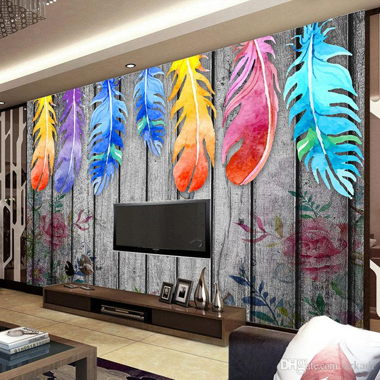 Custom Any Size 3d Wall Murals Wallpaper Modern Hand Painted Wood Board Colored Feathers Abstract Art Wall Painting Mural Decor Arkadi