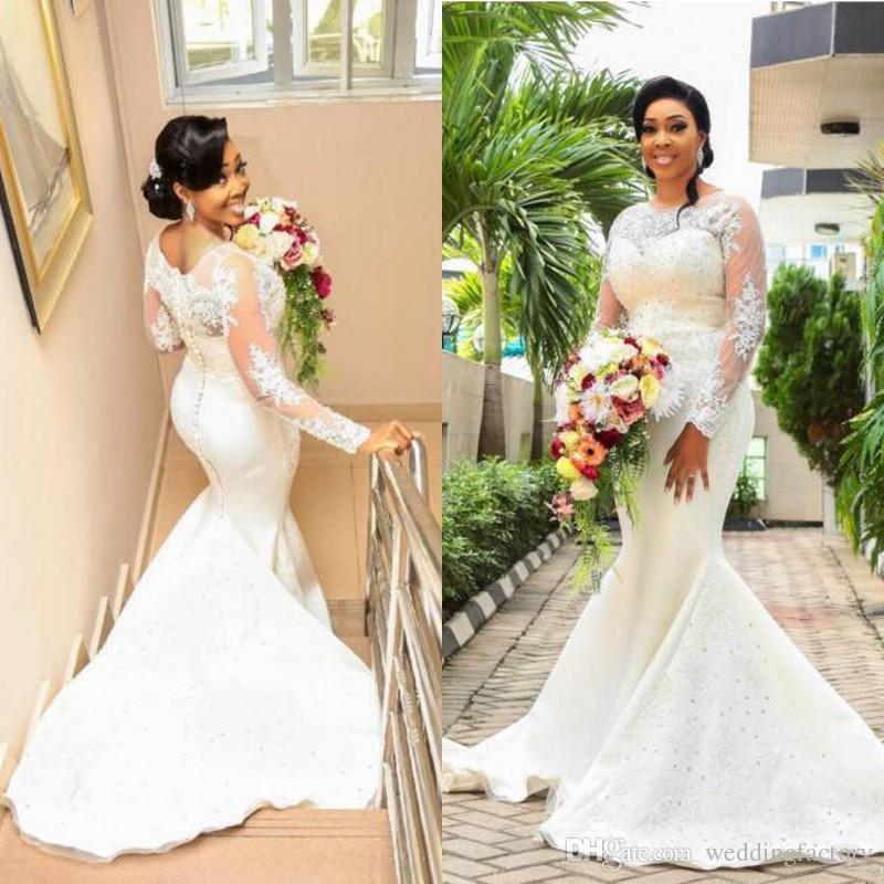 2019 Plus Size Mermaid Wedding Dresses Sheer Neck Illusion Long