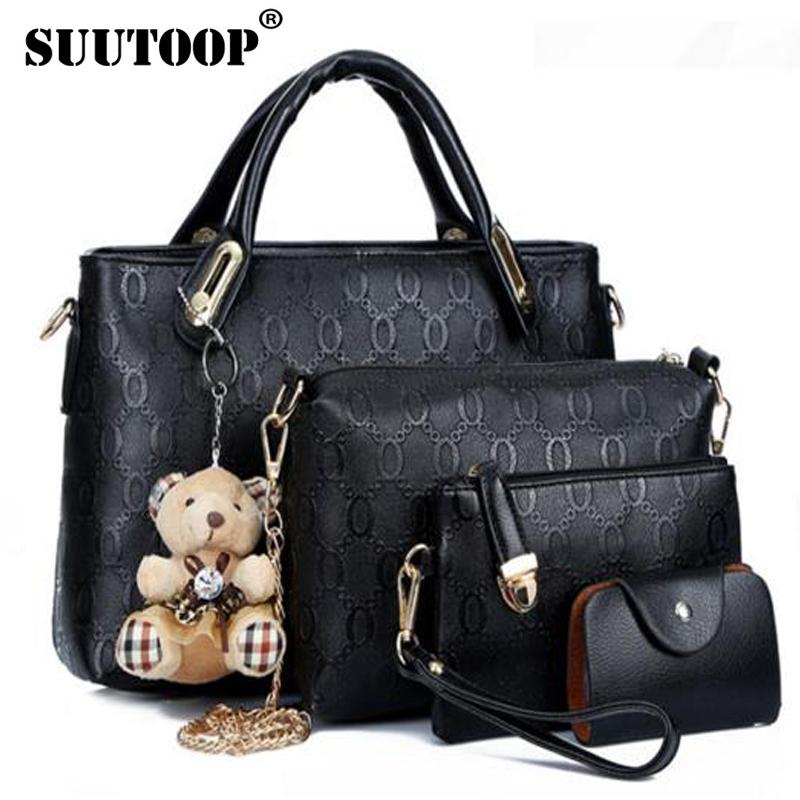 d4327a9a2454 2019 Fashion famous brand women bag top-handle bags fashion lady shoulder  bag handbag set PU Leather bag women's handbags 4pcs/set suutoop