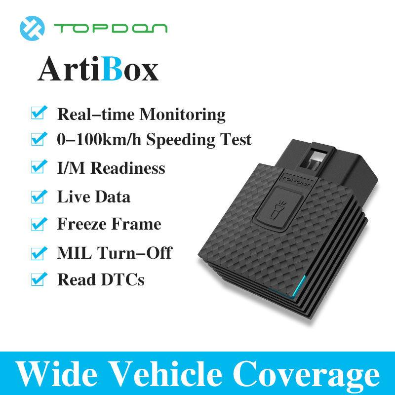 TOPDON ArtiBox OBD2 Diagnostic Tool OBD Connector Free APP Software Blue  OBDII ELM327 Pro for Driver PK LAUNCH X431 EasyDiag 3 0