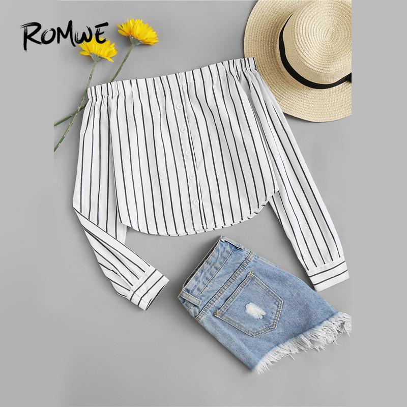 Romwe Off Shoulder Single Breasted Striped Buttons Top Women Spring Autumn Long Sleeve Blouse White Casual Sexy Blouse Y190427