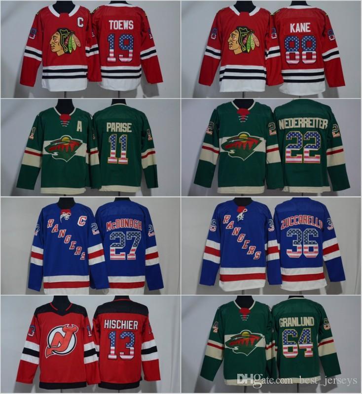 4b75367ff USA Flag Premier Jersey 19 Jonathan Toews 88 Patrick Kane 11 Zach ...