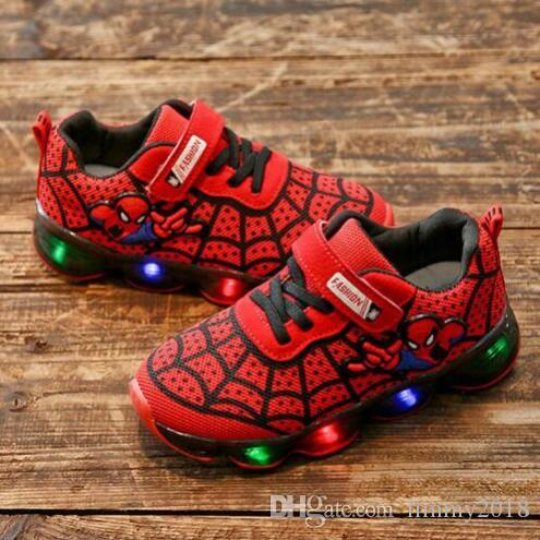8a7af32ac SpiderMan Kids Shoes With Light Brand New Children Luminous Sport Shoes  Shining Sneakers Baby Boys Girls LED Light Shoes Sport Shoes For Boys Gym  Shoes For ...