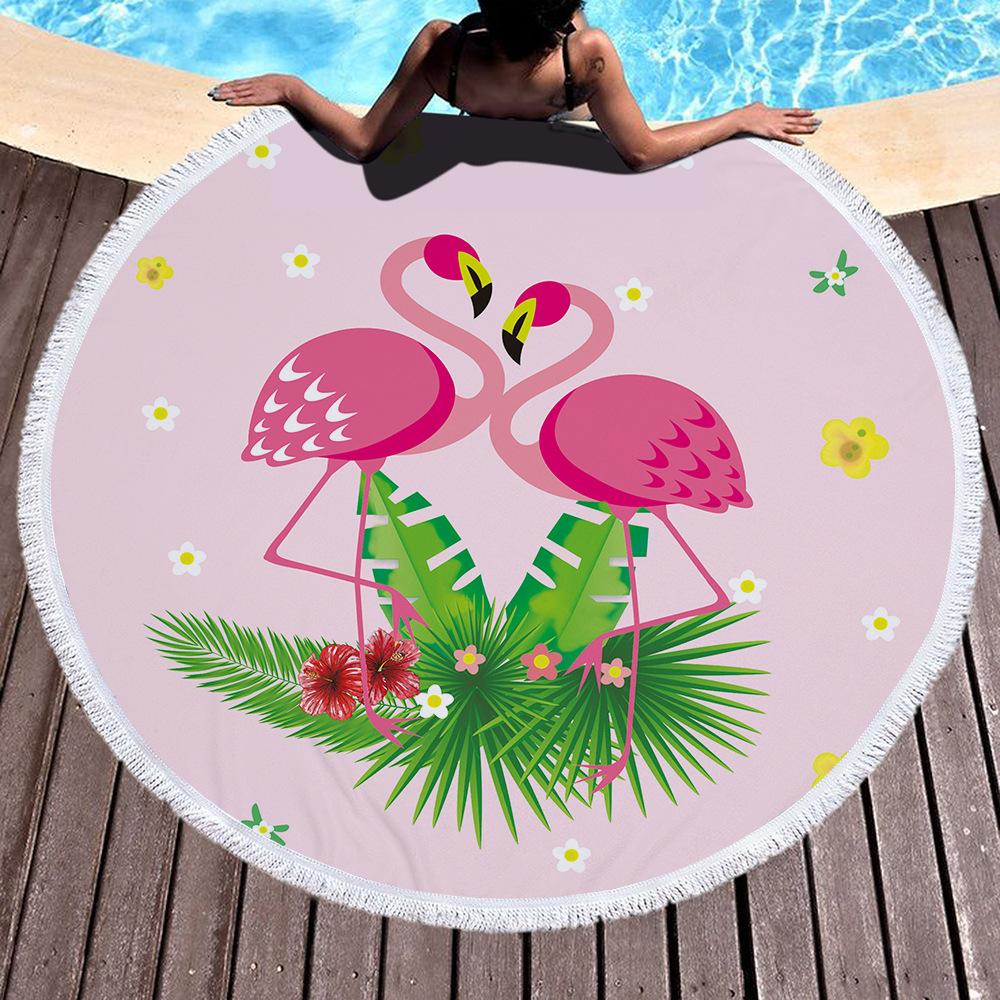 photo about Printable Towels referred to as Beach front towel Blanket Little one sleeping quilt Wrapped towel Very hot flamingo microfiber posted spherical beach front towel with tels 150*150cm printable
