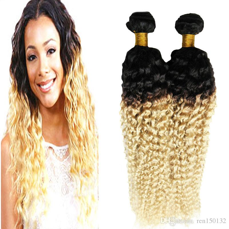 Ombre Brazilian Hair Kinky Curly Human Hair Bundles Extensions 10-26inch 2 Piece Ombre Brazilian Human Hair Weave Bundles