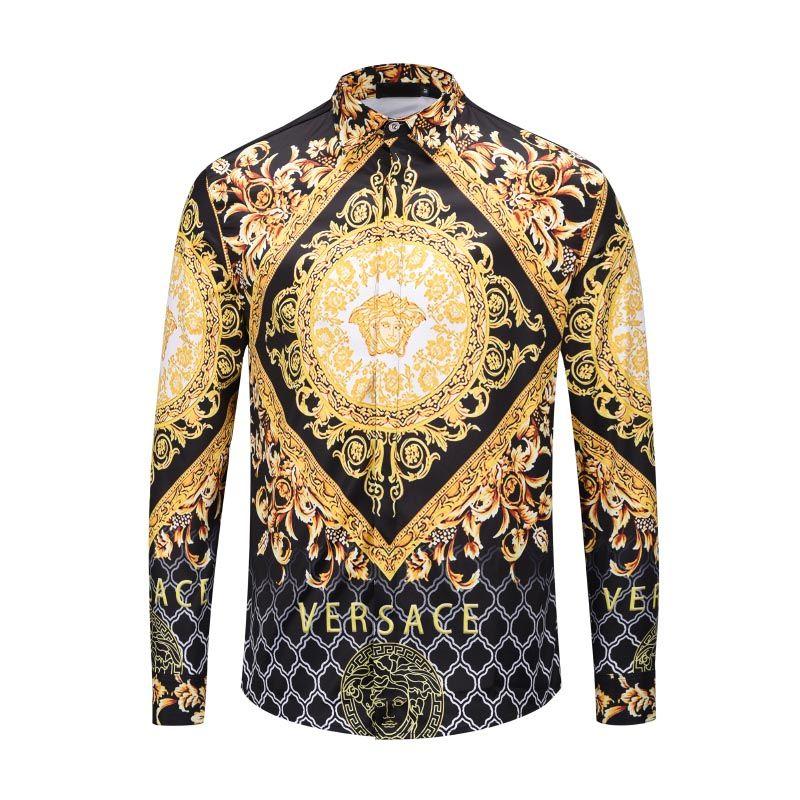 aaab140b1a ZXD HYG HOT Autumn winter Harajuku Medusa gold HYG chain Dog Rose print  shirts Fashion Retro floral sweater Men long sleeve tops shirts