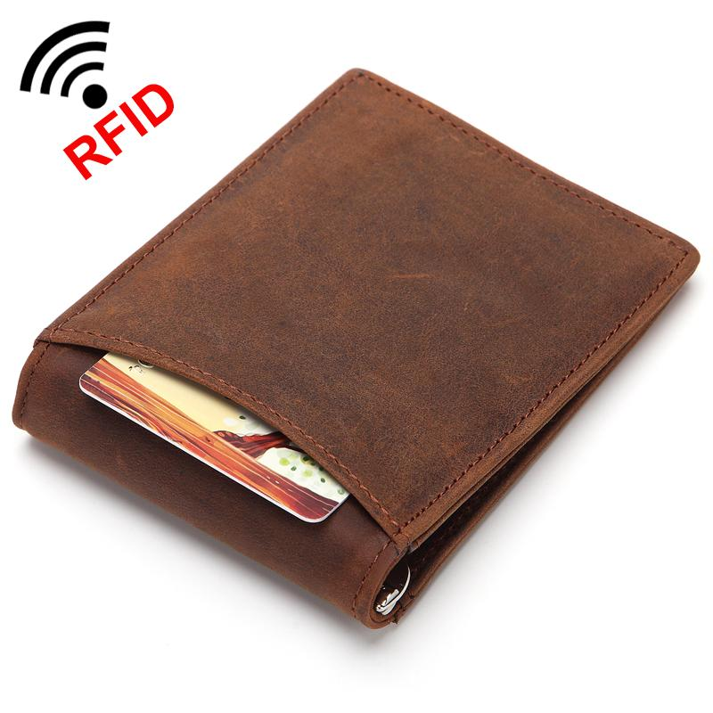 1f5af0104472f FONMOR Genuine Leather Ultra Slim Bag Men RFID Blocking Money Clip  Minimalist Wallet Crazy Horse Leather Metal Clip