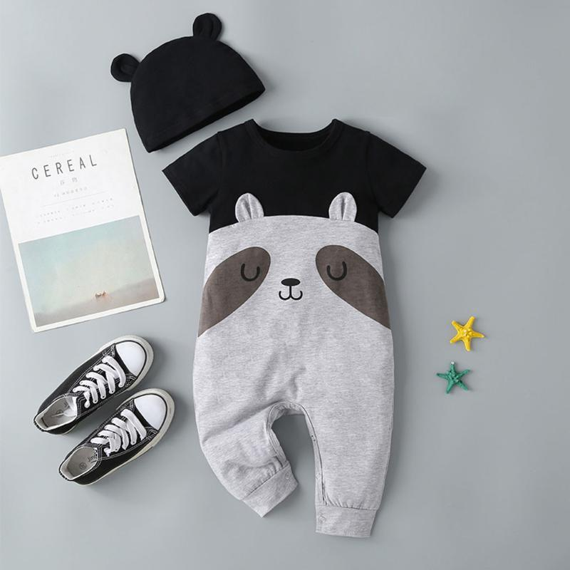 Toddler Baby Girl cartoon Clothes suit Toddler Girls Short Sleeve Bear Print Color Block Patchwork Romper with hat set#G40