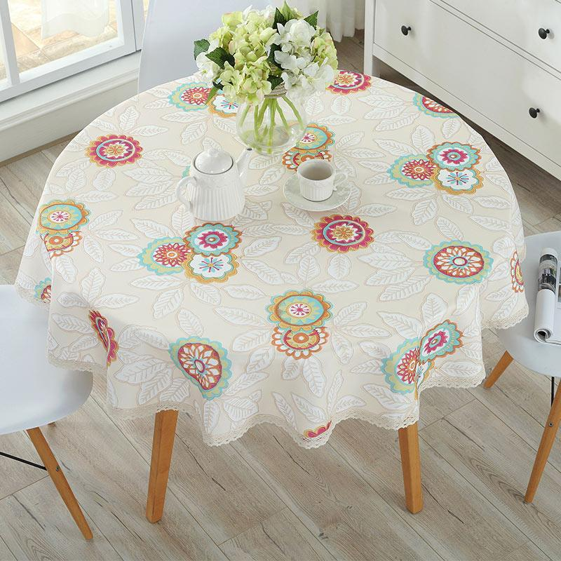 Large Round Table Cloth.Pastoral Pvc Round Table Cloth Waterproof Oilproof Floral Printed Lace Edge Plastic Table Covers Anti Hot Coffee Tablecloths