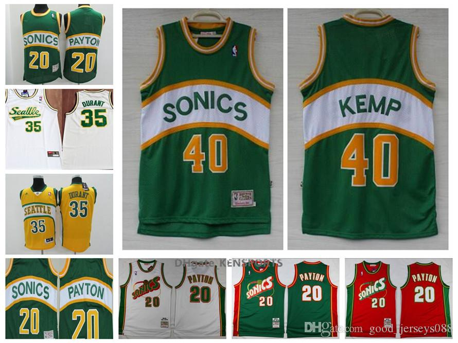 size 40 482dd d406b 2019 Seattle Basketball SuperSonics Retro Jersey 35 Kevin Durant 40 Shawn  Kemp 20 Gary Payton All Stitched Jerseys