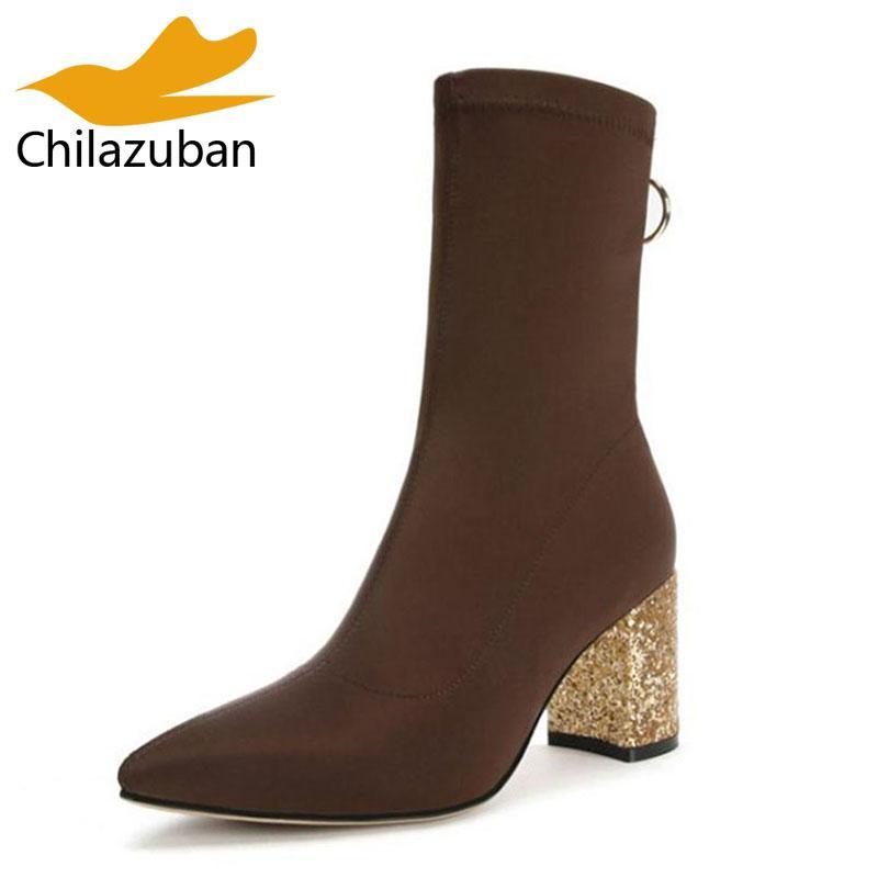 8ddc05372bd Compre Chilazuban Senhoras Botas Curtas Dedo Apontado Toe Com Zíper Meados  De Bezerro Botas Sapatos De Mulher De Alta Qualidade Sapatos Mulher Calçado  ...