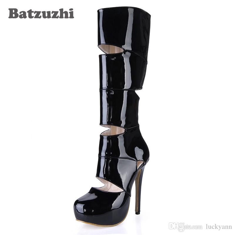 promo code 231c2 ff052 14CM Ultra High Heel Boots Women Patent Leather Women Boots 3cm Platform  Knee-high for Women, Big Sizes 35-40