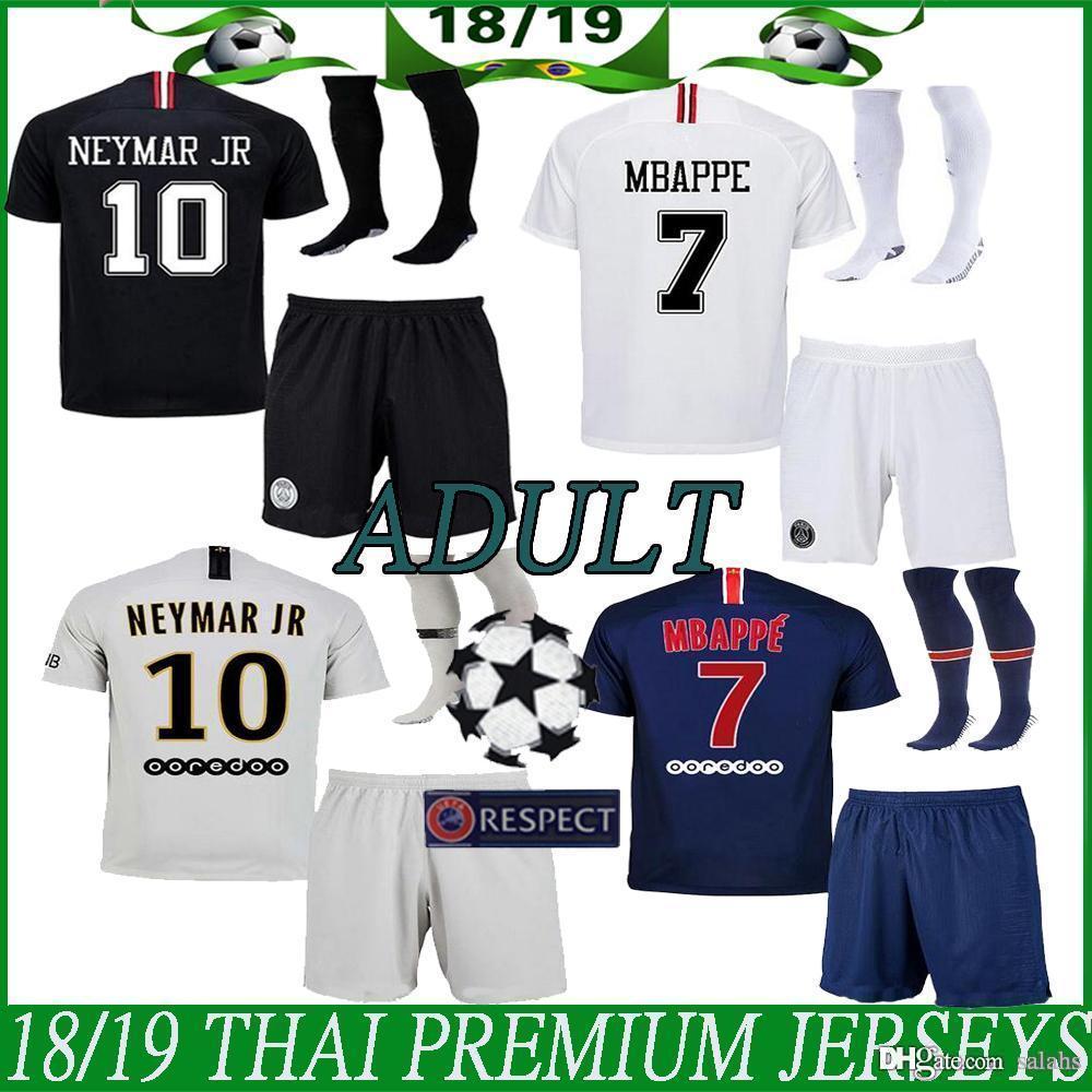hot sale online 5484c dd841 Paris adult KIT Soccer Jersey 2018/19 psg home KIT 10# NEYMAR JR Football  Shirts 7# Mbappé 11# Di María adult kit socks