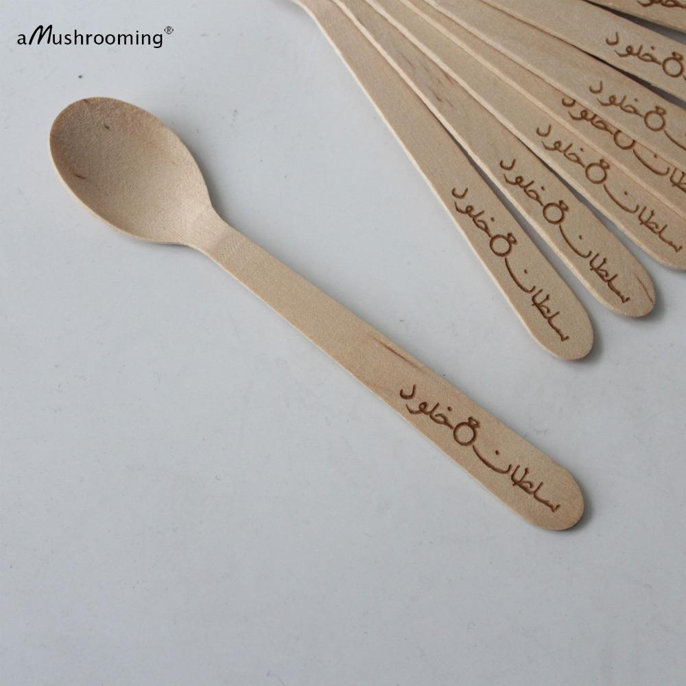X100 Small Spoons Personalized Text In Arabic Wood Mini Spoons Ice Cream Jam Jars Party Decoration Custom Gift Coffee