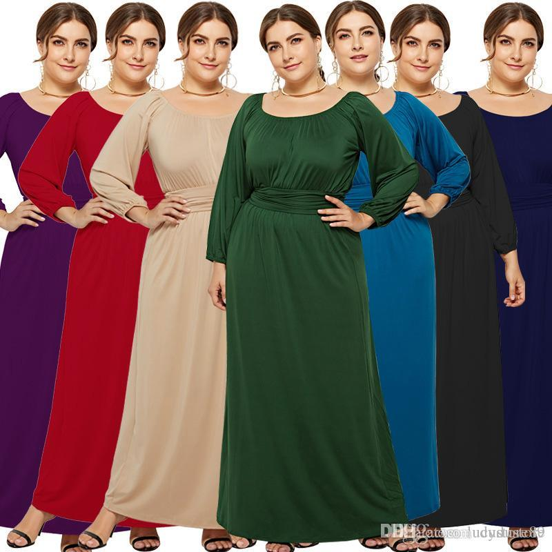 women plus size spring summer dress ladies scoop neck long sleeve casual  dress female big size home maxi dress LM3105