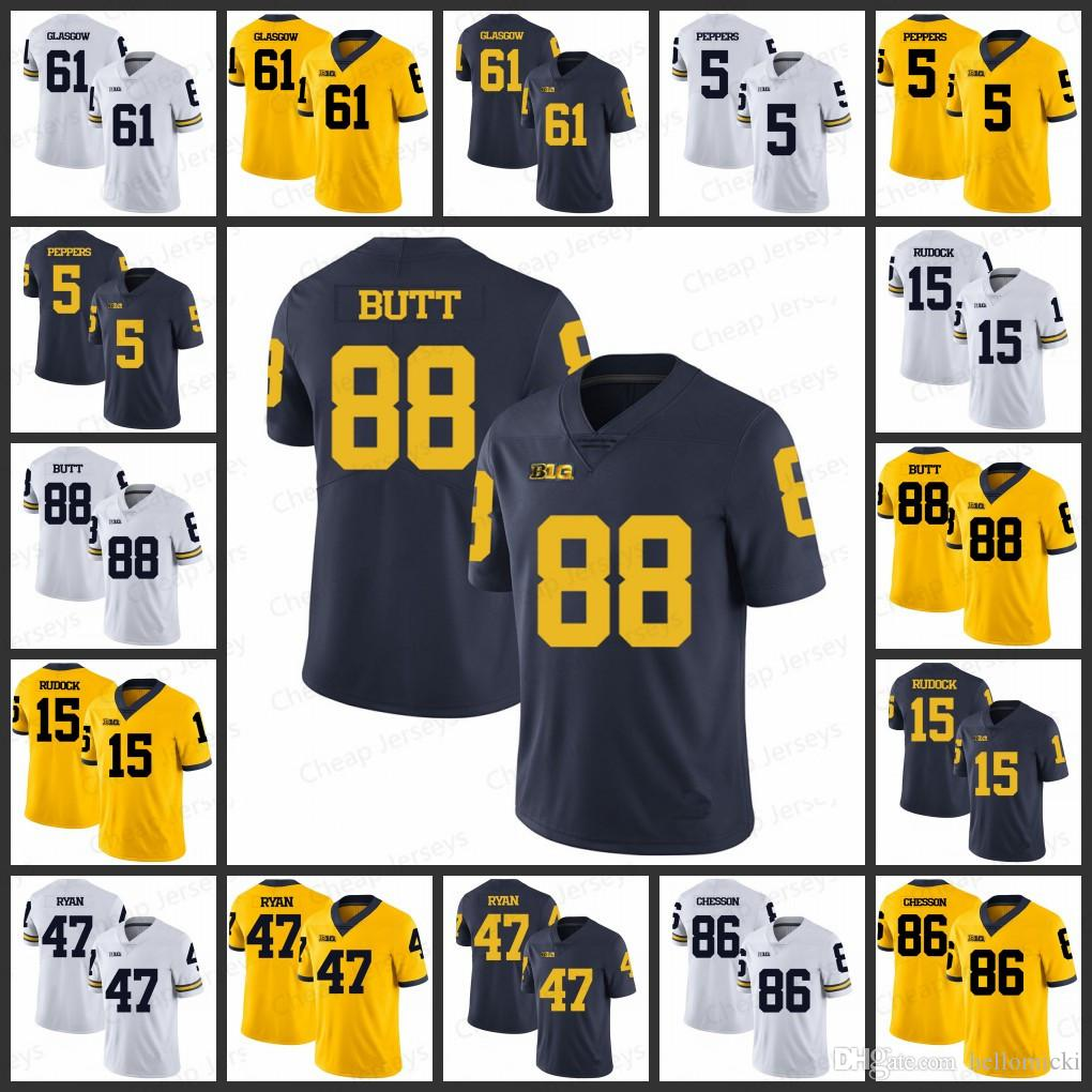 brand new f5a3a bb2fb Mens Michigan Wolverines Jerseys 61 Graham Glasgow 88 Jake Butt 15 Jake  Rudock Jabrill Peppers 47 Jake Ryan All stitched College Football