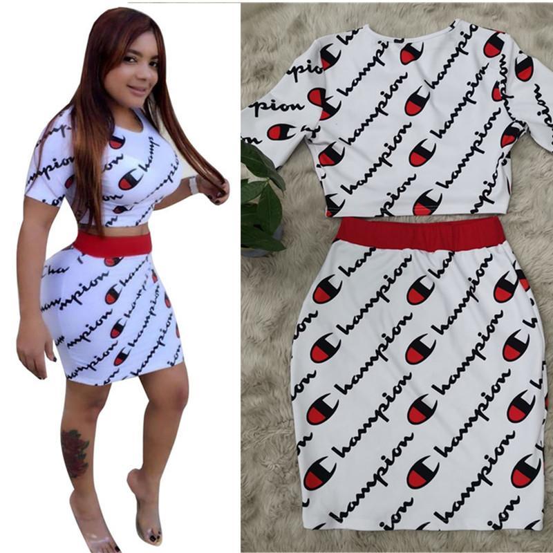 fb9466a637e2 Champion Women Summer Two Piece Dress Set Short Sleeve T-shirt + Short Dress  Outfit Crop Top Mini Skirt Tracksuit Fashion Suit C5807